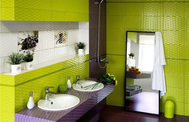 Фото салатовой плитки для ванной